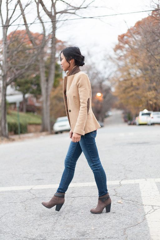 Blazer with elbow patches camel every day