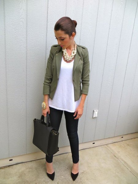 Blazer with a white long tank top and black jeans