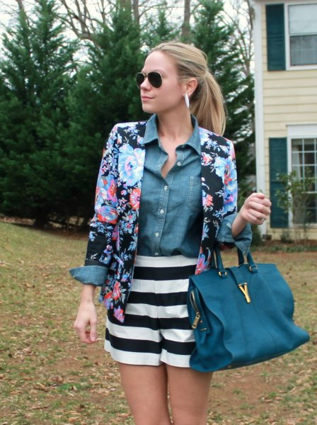 blue and black floral blazer with a chambray shirt and striped, flowing shorts