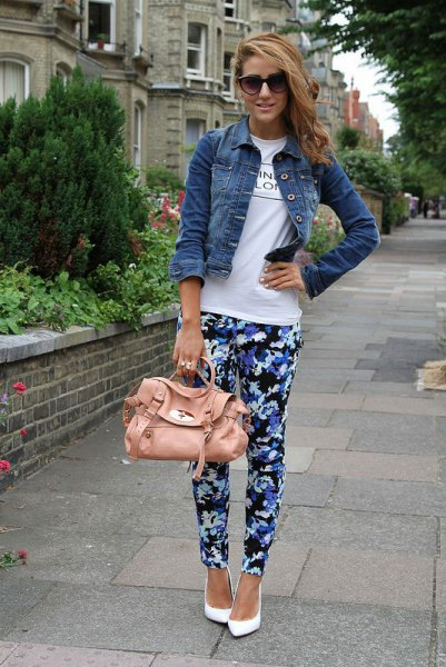 blue and black floral pants with white t-shirt and denim jacket