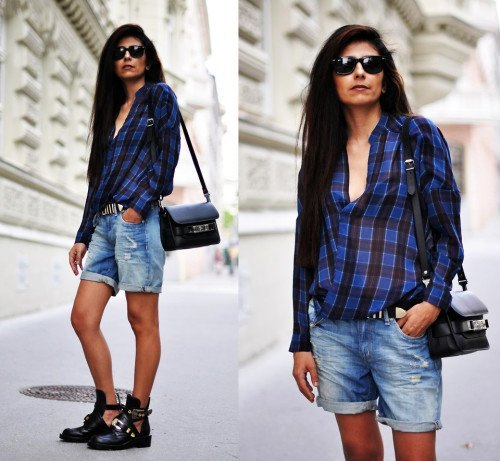 blue-black checked shirt with tied boyfriend shorts