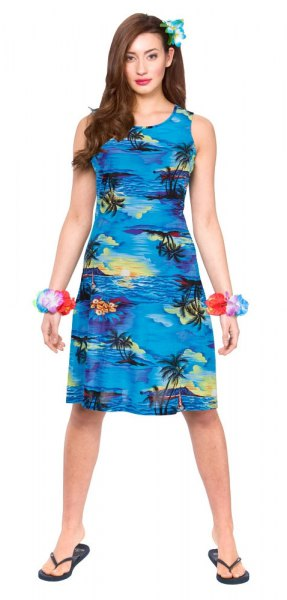 sleeveless sheath dress with blue and black printing and flip-flops