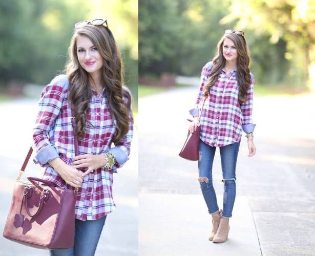 blue and red plaid shirt with ripped skinny jeans