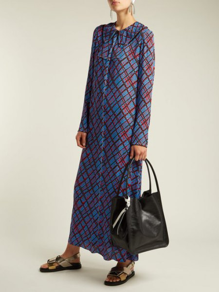 blue and gray checked maxi dress with button placket and black wallet made of soft leather
