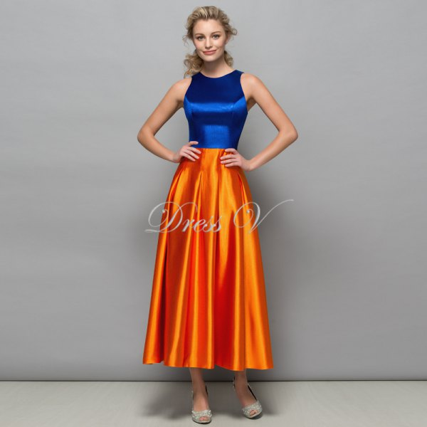blue and orange silk color block fit and flare maxi dress