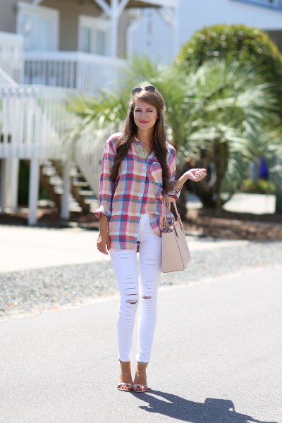 blue-pink plaid shirt with thin white jeans