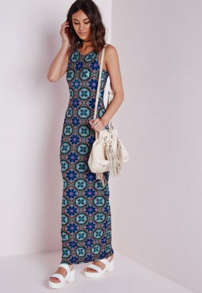 blue and pink tribal printed jersey maxi dress with white sandals