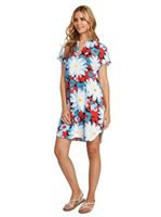 blue and red floral printed mini short-sleeved luau dress
