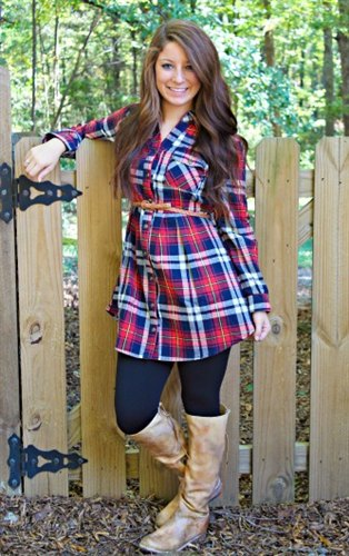 Knee-high leather boots made from blue and red checked ivory tunic