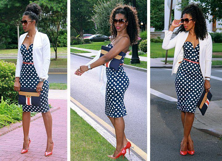 Pin by Joanna Stone on Style Redefined | Polka dot dress outfit .