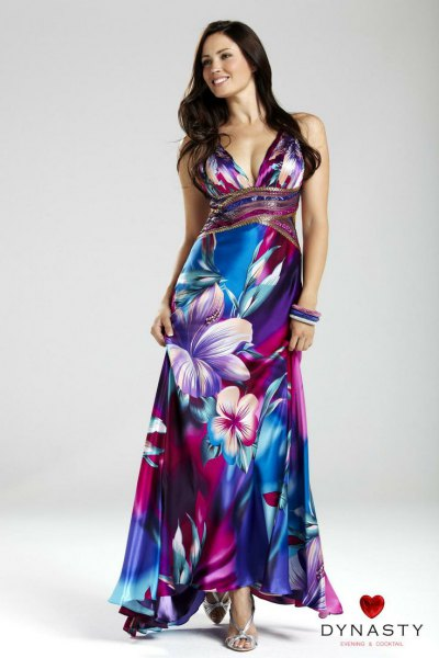 blue and white floral printed Hawaiian wedding dress with deep V neckline