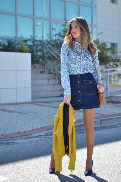 blue and white shirt with floral pattern and dark blue denim mini skirt