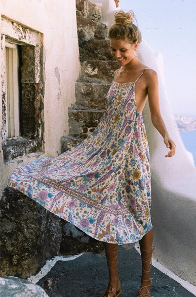 Backless floral midi summer dress with blue and white halter