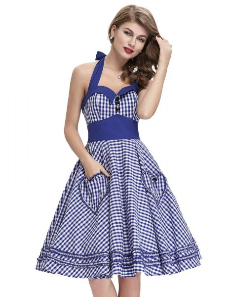 blue and white halterneck fit and flared dress with sweetheart neckline