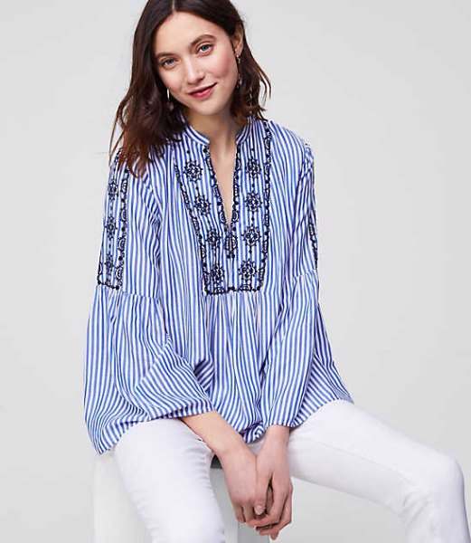 blue and white pinstripe shirt in boho style