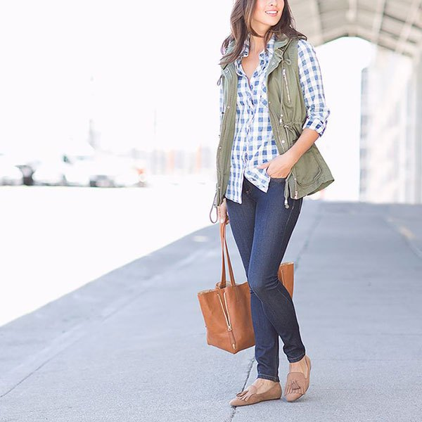blue and white checked shirt skinny jeans