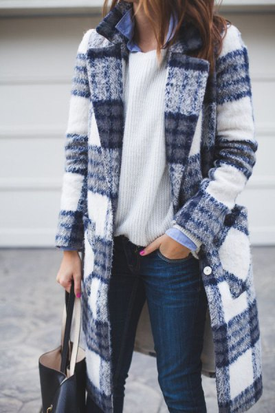 blue and white checked long wool coat with ribbed sweater