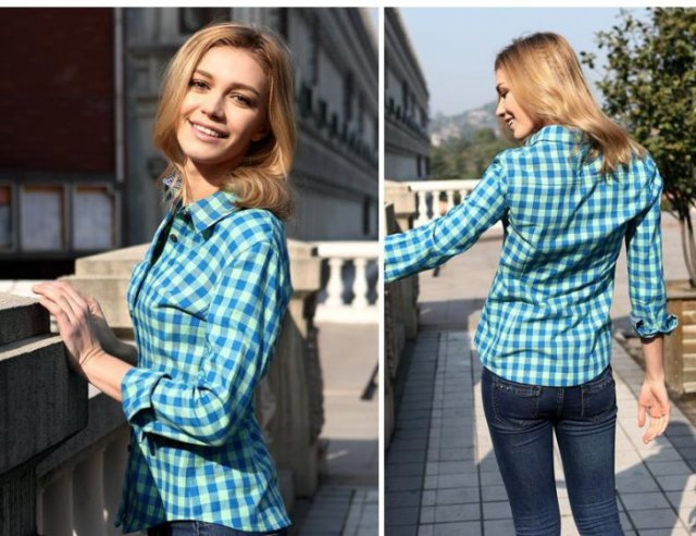 blue and white checked, slim fit shirt