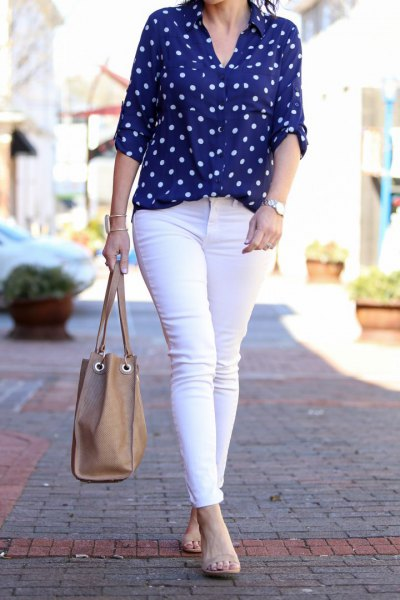 blue and white polka dot shirt, white skinny jeans