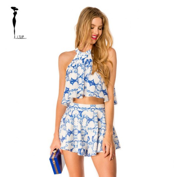 Blue and white printed halter top with mini skater skirt