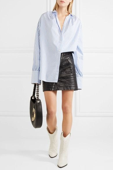 blue and white striped boyfriend shirt, black leather skirt