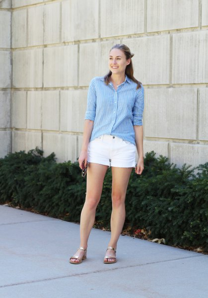 blue and white striped long-sleeved shirt with buttons and mini cotton shorts