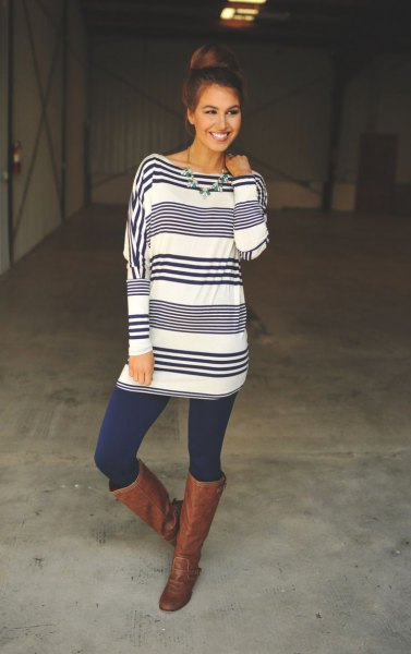 blue-white striped long-sleeved tunic with dark blue leggings