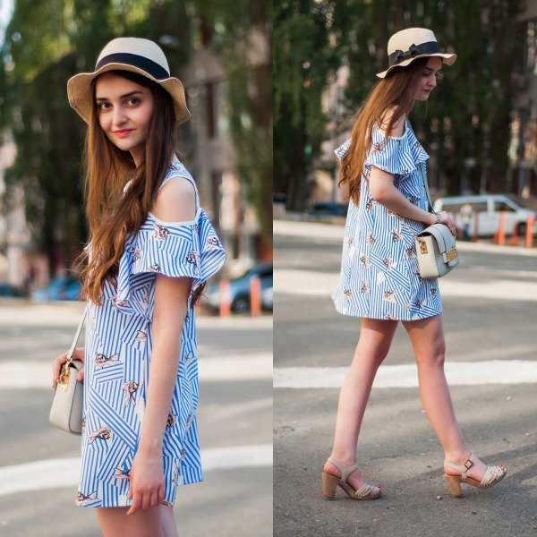 blue and white striped mini dress with open shoulder