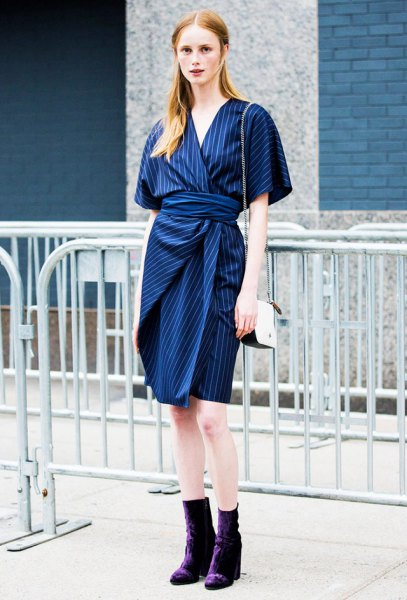 blue and white striped waist dress with tie