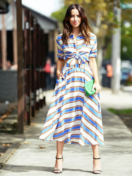 blue and white striped two-piece slim midi dress