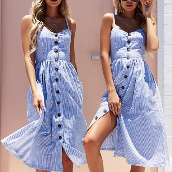 blue and white vertical striped fit and flared midi dress with buttons