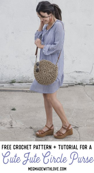 blue and white vertical striped mini shift dress with a cute round purse made of straw