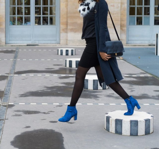 blue ankle boots black pencil skirts outfit