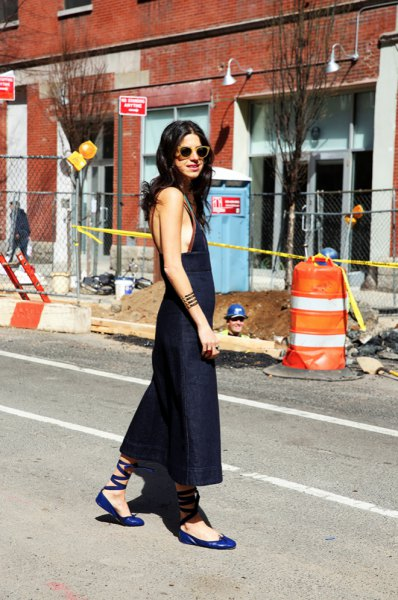 blue ballerinas sleeveless maxi dress
