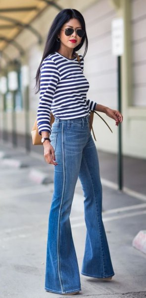 blue striped jeans with long sleeves
