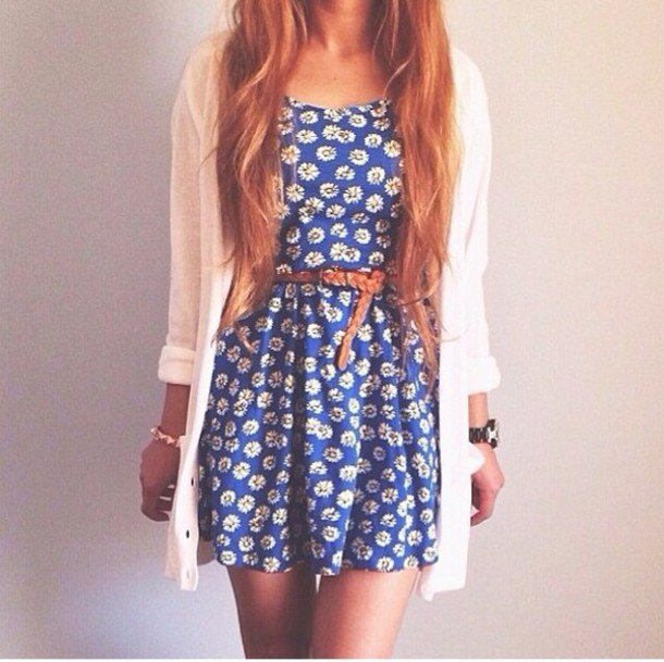 Flower dress with blue belt and white cardigan