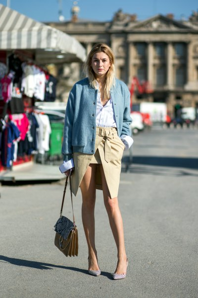 blue bomber jacket with wrap skirt