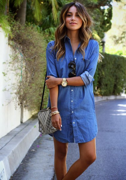 Mini denim shirt dress with blue button and green checked wallet