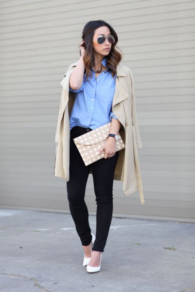 blue shirt with buttons and light pink longline blazer