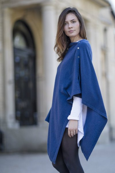blue buttoned white wool poncho shirt