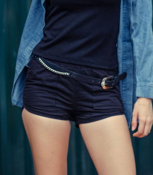 blue chambray shirt with buttons, black tank top and matching mini sweat shorts