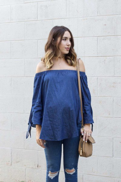 blue chambray from the shoulder blouse with ripped maternity jeans