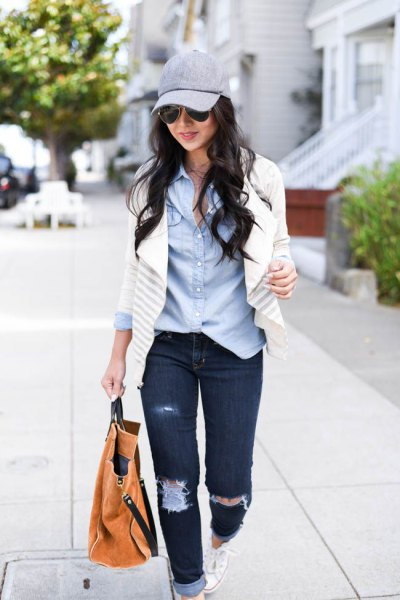 blue chambray shirt and white blazer