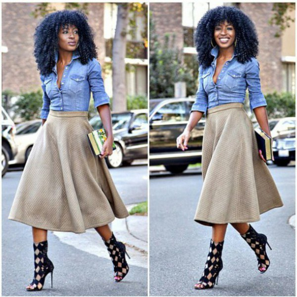 Blue chambray shirt with a red, flared midi skirt and checked, open toe heels