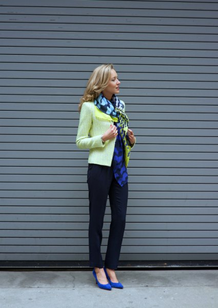 blue chiffon scarf yellow tweed jacket outfit