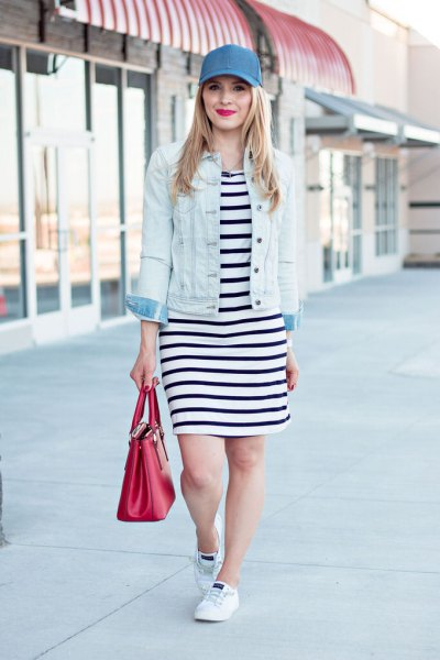 blue denim baseball cap with black and white striped t-shirt dress