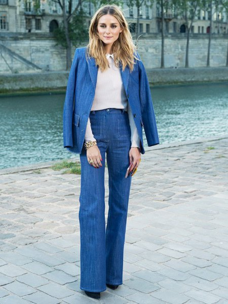 blue denim blazer with matching flared jeans