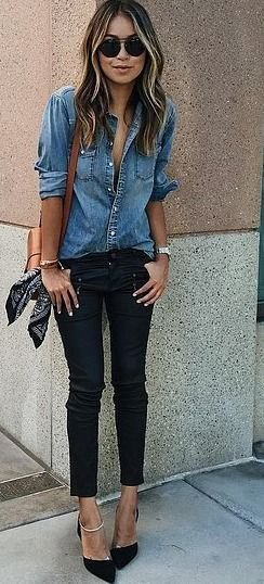 blue denim shirt with buttons and black skinny jeans