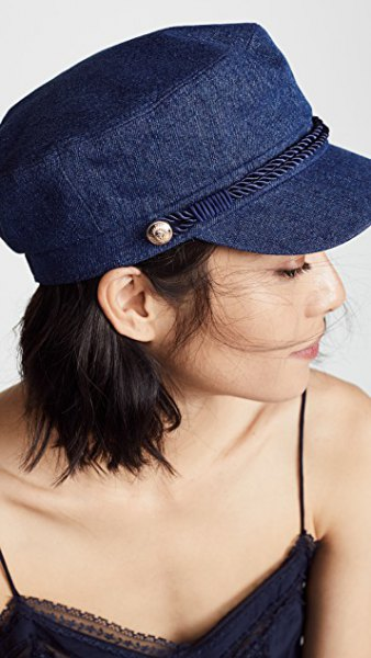 Blue denim flat cap with black camisole and skinny jeans