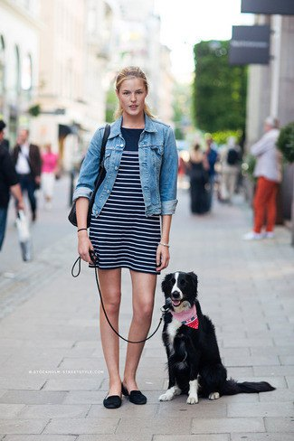 blue denim jacket with black and white striped mini dress and backless suede low shoes